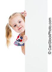 godny podziwu, dziecko, z, czysty, reklama, chorągiew