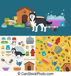 gods, butik, husdjuret, hund, produkter, skaffar, lager, omsorg
