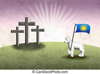 Gods lamb and the Easter victory ba - Tree cross the holy...