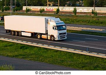 gods, lastbil, på, motorväg