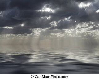 God\\\'s Light - Clouds looming over the horizon with rays...