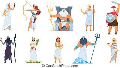 gods., mâle, vecteur, mythologie, blanc, mignon, dessin animé, ancien, grec, légendaire, héros, caractères, isolé, femme