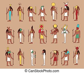 Gods of Egypt - Set of 21 ancient male and female Egypt gods...