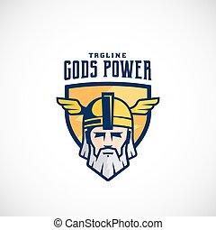 Gods Power Vector Sport Team or League Logo Template. Odin...