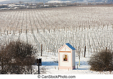 God''s torture near Hnanice with winter vineyard, Southern Moravia, Czech Republic
