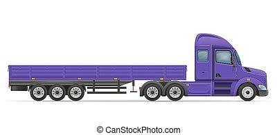 gods, transport, halv-, illustration, vektor, lastbil, släpvagn