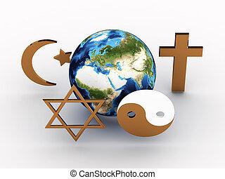 godsdienstige symbolen, van, ons, planet., 3d, beeld