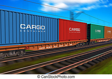 godståg, med, last behållare