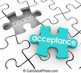 godtagande, pussel del, fullständig, invändig frid, medge,...