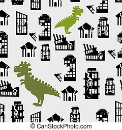 Godzilla destroys  city seamless pattern. Great Monster breaks down building. Destruction of  City Office at home. Background of terrible aggressive animals in  city centre.
