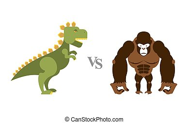 Godzilla vs King Kong. Battle monsters. Big wild monkey and scary dinosaur. Contest of destroyers.