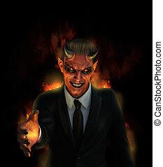 goed, delen, offergave, een, duivel, hel