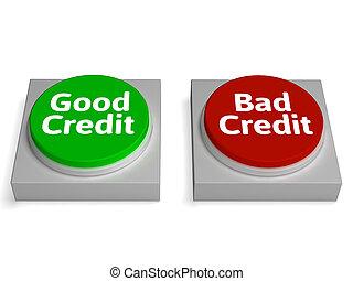 goed, financieel verslag, krediet, slecht, optredens