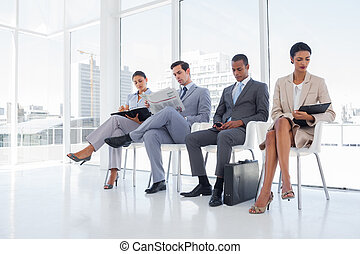goed gekleede, zakenlui, sat, om te