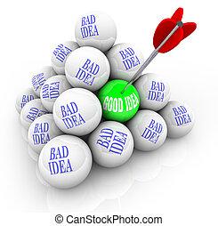 goed, idee, vs, slecht, ideeën, -, succesvolle ,...