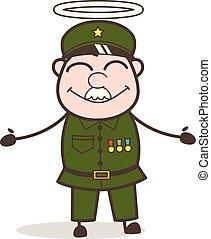 goed, illustratie, vector, sergeant, spotprent, halo