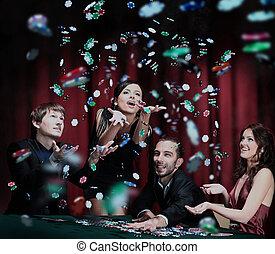 goed, mensen, jonge, casino., hebben, tijd
