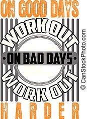 goed, noteren, werken, dagen, fitness, print