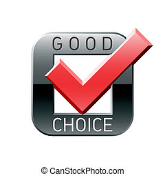 goed, tick, keuze