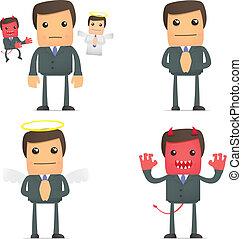 goed, tussen, kwaad, keuze, zakenman, vervaardiging