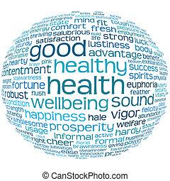 goede gezondheid, en, wellbeing, label, wolk