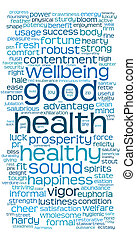 goede gezondheid, woord, of, label, wolk