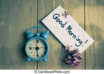 goede morgen, aantekening, en, old-styled, klok