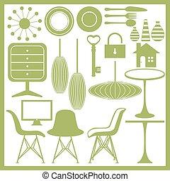 goederen, set, meubel, pictogram, thuis