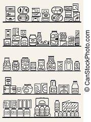 goederen, winkel, planken
