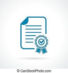 goedkeuring, certificaat, pictogram
