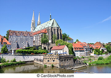 Goerlitz, Germany - St. Peter's Church and Neisse river in...