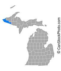 gogebic, mapa de michigan