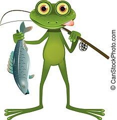 goggle-eyed, pescatore, rana