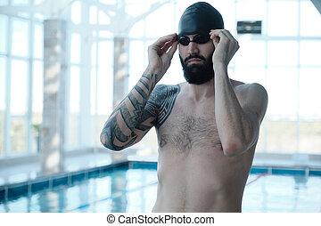 goggles, brutaal, zwemmer, aanpassen