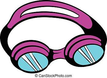 Goggles for swim icon, icon cartoon
