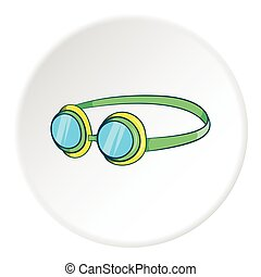 Goggles icon, cartoon style