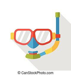 goggles natação, apartamento, ícone
