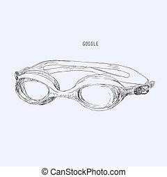 goggles natação, vector.