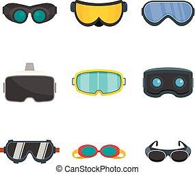 Goggles ski glass mask icons set, flat style