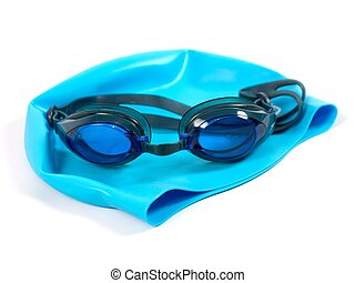 Goggles - Swimming goggles isolated against a white...