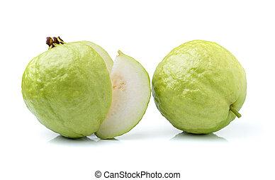 goiaba, branca, fruta, isolado, fundo