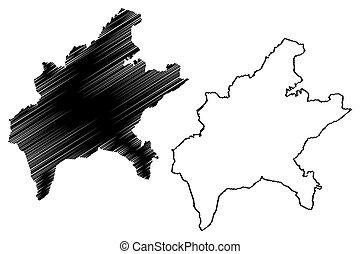 Goiania City (Federative Republic of Brazil, Goias State) map vector illustration, scribble sketch City of Goiania map