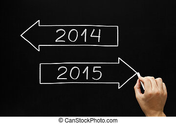 Going Ahead to Year 2015 - Hand sketching New year concept ...