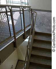 Back stair case in modern office building
