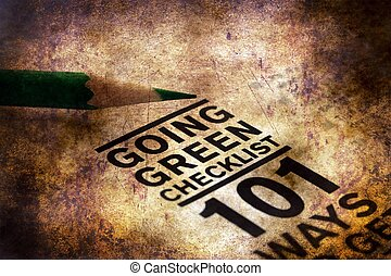Going green checklist grunge concept