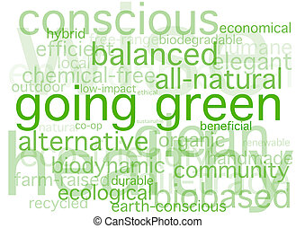 Going Green - A simple word collage containing words about...