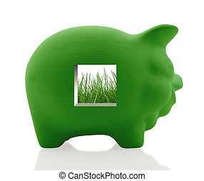 Going green - Traditional piggy bank shows how to save money...