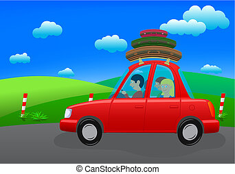 going on holiday (road trip) - people going on holiday by...