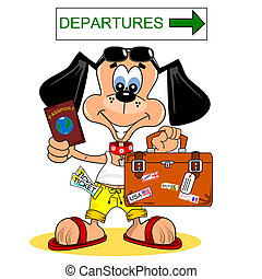 Going on vacation - A cartoon dog going on summer holiday...