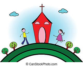 Going to church - Vector illustration of happy children go...